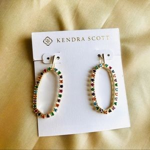 Kendra Scott Elle colorful crystals gold earrings